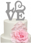 Love with Heart symbol Acrylic Cake Topper